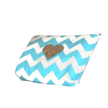 Turquoise Cosmetic Bag // Light Blue Make Up Pouch // Aqua and White Chevron Zippered Pouch// Gold Heart // Polka Dot Glitter Lining