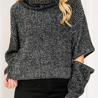 Black Zipper Detail Cropped Sweater