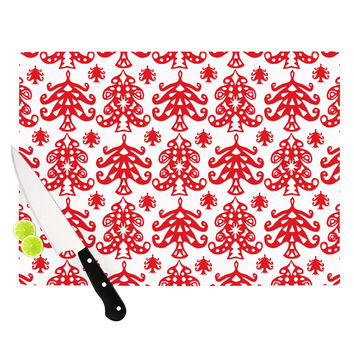 "Miranda Mol ""Ornate Trees White"" Red Holiday Cutting Board"
