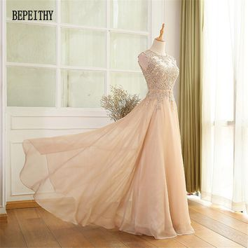 BEPEITHY Factory Direct Sales Chiffon Long Prom Dresses Vestido De Festa Lace Top Elegant Evening Party Dress Fast Shipping 2017