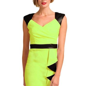 Green Black V Neck-line Bodycon Dress With Waterfall Details