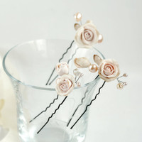 Ivory hair pins set Bridal hair pins Wedding accessory Cream hair flowers Pearl accessory hair Bridal hair flowers wedding hairpins pearls