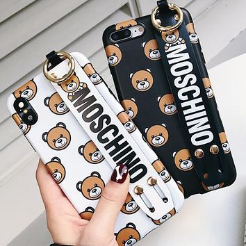 MOSCHINO Trending Stylish Teddy Bear Soft Mobile Phone Cover Case For iphone 6 6s 6plus 6s-plus 7 7plus 8 8plus X XSMax XR