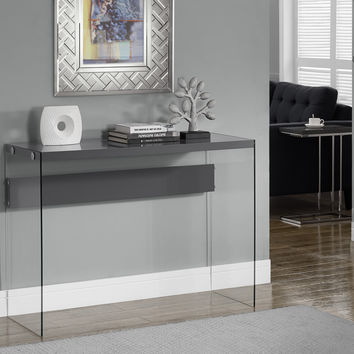Console Table - Glossy Grey With Tempered Glass