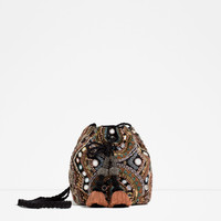 BEADED CROSS BODY BUCKET BAG