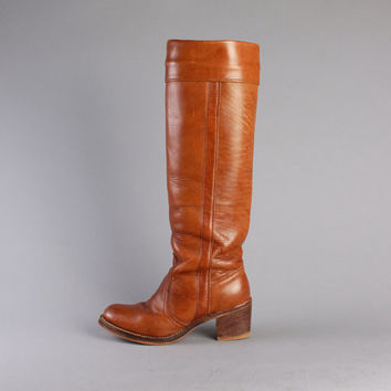 70s FRYE BOOTS / Caramel Brown Stack Heel CAMPUS Boots, 6