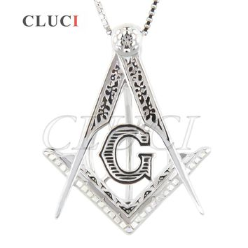 CLUCI religion charms Free-Mason 925 sterling silver necklace pendant pearl jewelry locket cage pendant