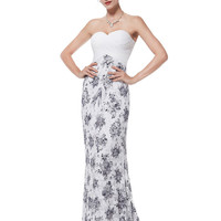 White Strapless Homecoming Lace Mermaid Dress