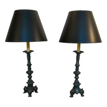 Pre-owned French Grey Candlestick Buffet Lamps - A Pair