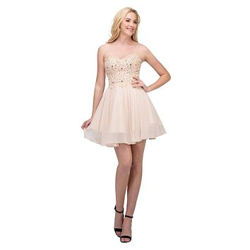 Chiffon A Line Short Homecoming Dress Champagne Strapless