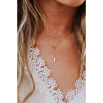 Double Feather Dainty Charm Necklace - Gold