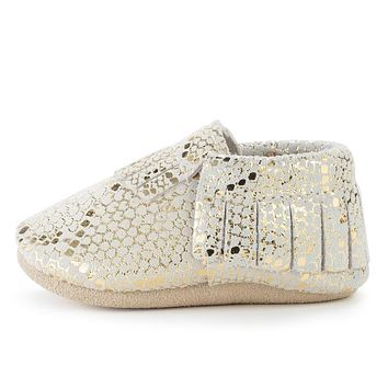 BIRDROCK BABY RATTLESNAKE GENUINE LEATHER BABY MOCCASINS