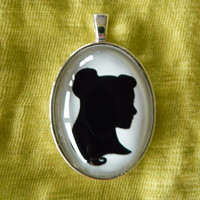 Belle Silhouette Disney Cameo Pendant Necklace