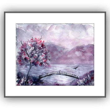 Japanese style pink gray and black original watercolor scenic landscape painting Original painting with lake mountains and bridge 8 x 10
