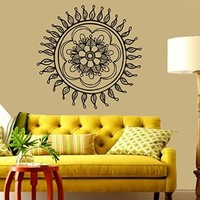 Wall Decals Vinyl Decal Sticker Yoga Studio Gym Mandala Indian Pattern Amulet Floral Design Lotus Flower Home Interior Wall Art Mural Bedroom Living Room Decor