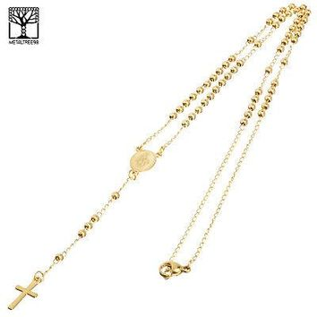 """Jewelry Kay style 3 mm Rosary Stainless Steel Gold Plated Guadalupe & Cross 20"""" Necklace SPY 501 G"""