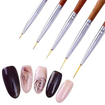 BORN PRETTY 5Pcs Nail Art Liner Drawing Brush UV Gel Painting Acrylic Redwood Handle DIY...