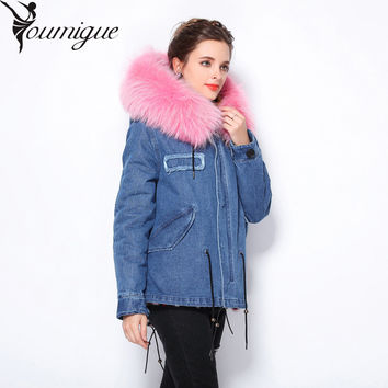 plus size 2016 brand new grey winter jacket coat women parka with natural real large light pink fur collar hooded thick warm
