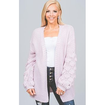 Lavender Bubble Sleeve Cardigan