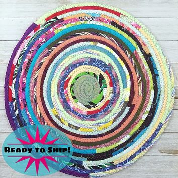 """R2S Handmade Table Mat Fabric Placemat 14.5"""" Diameter Multicolor Brights Ready to Ship"""