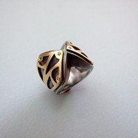 Gold and Silver Knight's Statement Ring- medival, for him, valentine's day gift, engagement ring, black and gold, lord of the rings