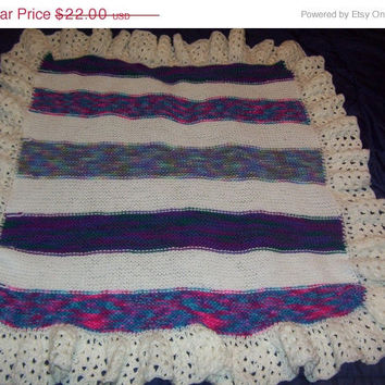 ON SALE Hand Knit Varigated and White Stripe Baby Afghan with Ruffle