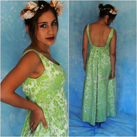 Gorgeous 60s backless wiggle dress / lime pistachio silver sateen jacquarde tapestry brocade / Bride Bridesmaid green maxi gown