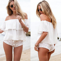 Stylish Women Sexy Off Shoulder Chiffon Short Sleeve Party Slim Shirt Top Blouse