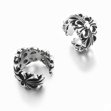 ESBONS Chrome Hearts' Personality Fashion Unisex Retro Ring Couple Titanium Steel Ring Tail Ring