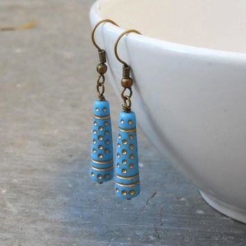 Sky, Light Blue Vintage Glass with Gold Detail Earrings