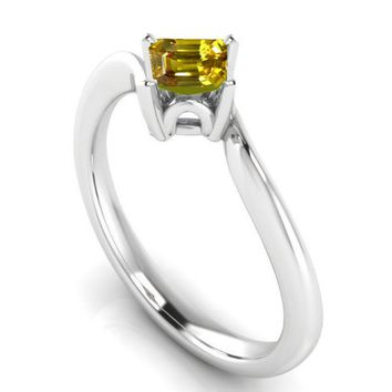 Yellow Ring Engagement ring Square cut Princess cut Yellow Sapphire Gothic Ring made in 14K 18K White gold Birthday Gift
