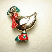 OAJC Holiday Goose Gold Tone Brooch/Pin