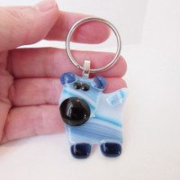 Dog Keychain - Fused Glass Keychain - Animal Keychain - Keychain Charm - Key ring - Key fob - Gift Under 10 - Dog Lover Gift