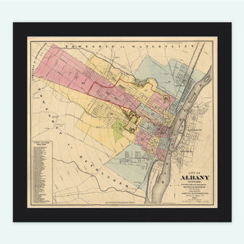 Albany NY Old Map New York, United States 1881