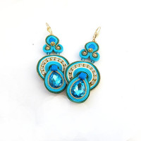 Dangle Drop Earrings -Long Turquoise Soutache Earrings - Blue Gold Earrings - Gold Soutache Earrings - Soutache Embroidery