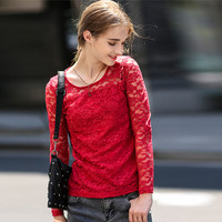 Slim Lace Nobel Long Sleeve Round Neck Mosaic T-shirt