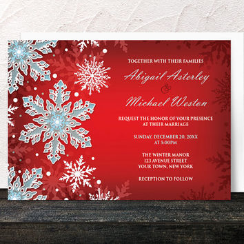 Winter Wedding Invitations - Snowflake Royal Red White and Blue design - Printed Invitations