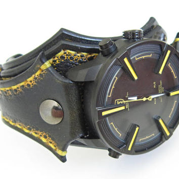 Mens Watch, Unique Watch For Men, Shark Leather Watch, Black And Yellow Leather Watch