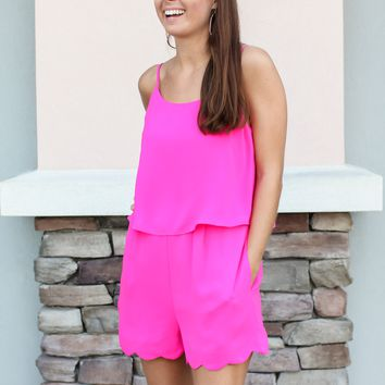 Next Up Scallop Romper - Hot Pink