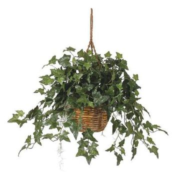 Nearly Natural English Ivy Hanging Basket Silk Plant-6507 - The Home Depot