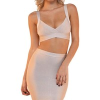 Night Moves Sleeveless Cut Out Crop Top Bodycon Bandage Two Piece Midi Dress - 3 Colors Available