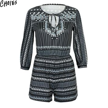 Women Black Plunge V Neck Geo Print Vintage 3/4 Sleeve Sexy Romper Playsuit 2016 New Summer Casual Tie Front  Elegant Jumpsuit