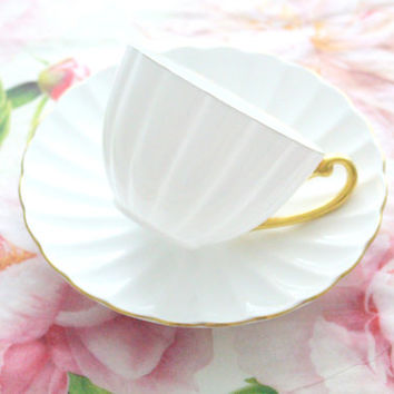 Vintage, English Fine Bone China, Ludlow Shape Tea Cup & Saucer, Wedding Gift Inspiration, Replacement China - ca. 1945 - 1946