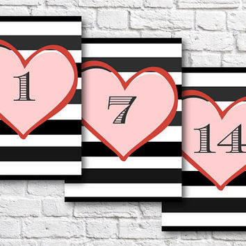 Wedding and Event Table Numbers 1-20. Instant digital download. Printable item. 5 x 7 inches. Love heart with a stripey background.