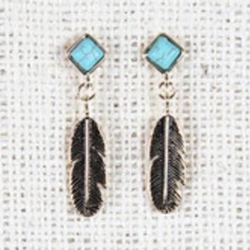 Turquoise Gemstone Feather Drop Earrings