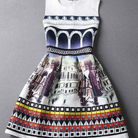 Retro Style Printed Jacquard Dress