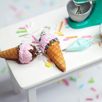 strawberry Ice cream cone earrings,  Ice Cream Earrings, Food Jewelry, Miniature Food, Clay Food, Ice Cream Jewelry, Waffle Cone Earrings