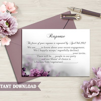 DIY Wedding RSVP Template Editable Word File Instant Download Rsvp Template Printable RSVP Cards Eggplant Rsvp Card Flower Rsvp Template