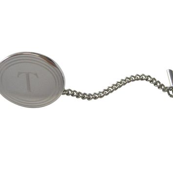 Silver Toned Etched Oval Letter T Monogram Tie Tack