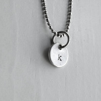 Sample Sale, k Necklace, Tiny Initial Necklace, Hand Stamped Initial, Letter k Necklace, Charm Necklace, Sterling Silver Jewelry